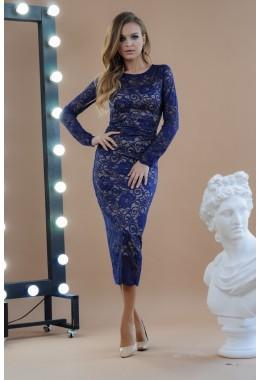 Изящное миди платье темно-синее