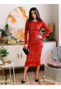 Изящное красное миди платье
