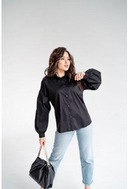 Черная хлопковая рубашка без карманов