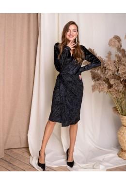 Изящное черное бархатное платье на запах