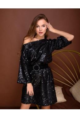 Платье-футболка вечернее с пайетками