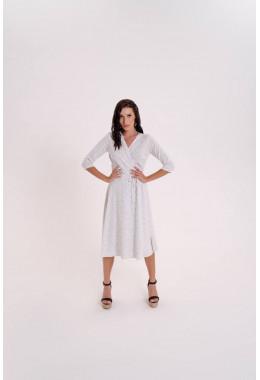 Легкое платье на запах белое в мелкий горох