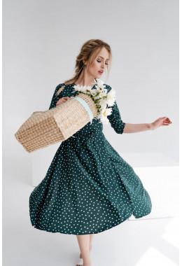 Платье-халат на запах цвета зеленое в частый горох